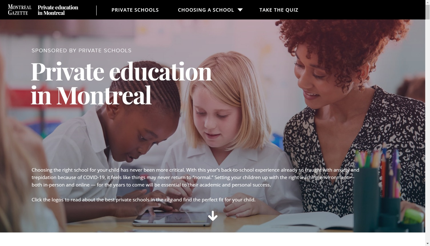 Montreal Gazette and Private Schools of Quebec Education in Montreal
