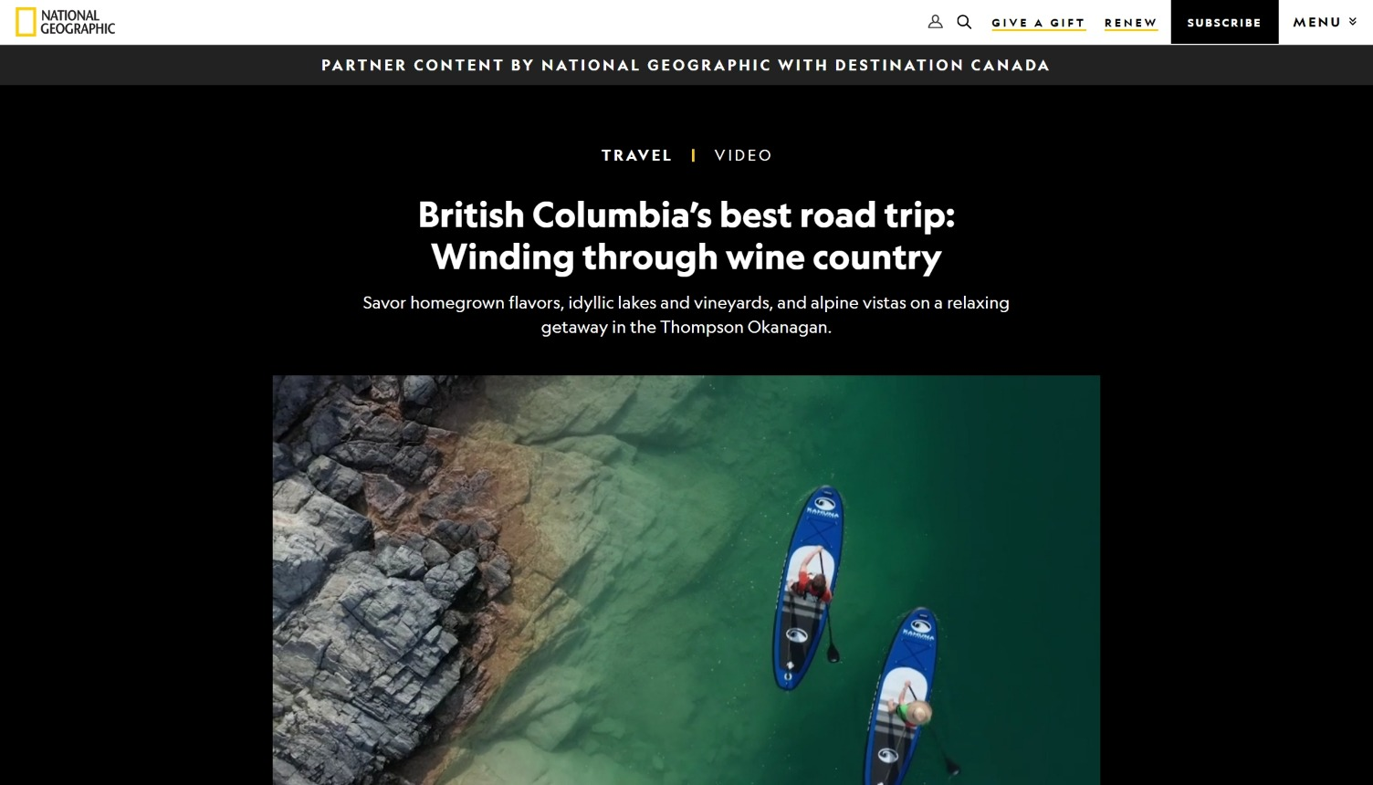National Geographic and Destination Canada - Winding through wine country