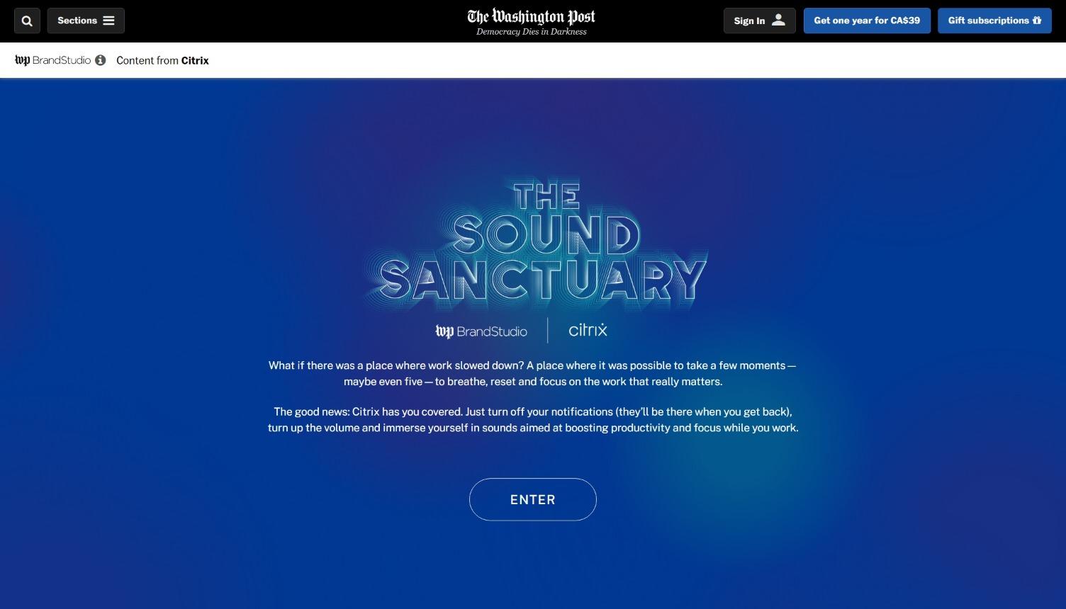 The Washington Post and Citrix The Sound Sanctuary